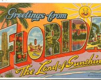 Linen Postcard, Greetings from Florida, The Sunshine State, Large Letter
