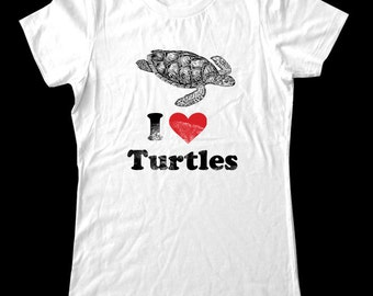 I Love (Heart) TURTLES - Soft Cotton T Shirts for Women, Men/Unisex, Kids
