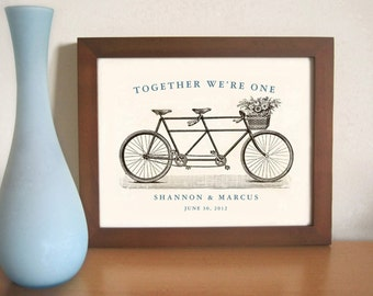 Personalized Unique Wedding or Unique Engagement Gift Idea Bicycle for Two Art Print for Couples