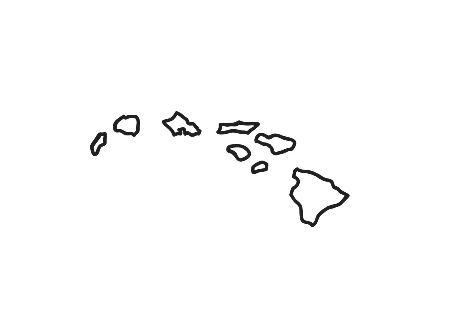 ISLANDS OUTLINE Decal 336 Hawaiian Stickers By