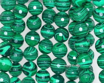 8mm Hedge Mazes Malachite Gemstone Green Faceted Round 8mm Loose Beads 7 inch Half Strand (90145149-217)