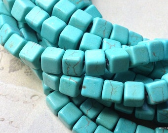 1 Strand of 5 mm Blue Square (Cube) Shape Turquoise Stones (.mnm)