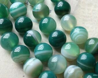 8 mm Round Sea Green Colour Agate Gem Stones (.sg)