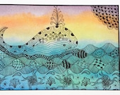 WHIMSICAL WHALE DRAWING Original Zentangle Inspired Art, Matted to, Soft Pastels and Ink Wall Art