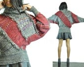 Vintage 80s Fringed Slouchy TEXTILE ART Funnel Neck Statement Sweater- free shipping