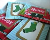 Christmas Kraft Card Set of 4 with Envelopes
