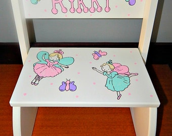 Fairy Step Stool- Hand painted and Personalized