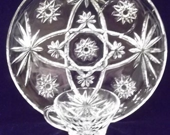 Lunch Set Star of David Anchor Hocking  Glass Snack Set American Prescut Glassware Pressed Glass Plate Cup