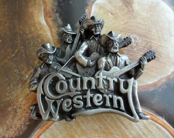 Vintage Bearded Man Band Country Western Musicians Belt Buckle 1981 Bergamot Brassworks Made in USA