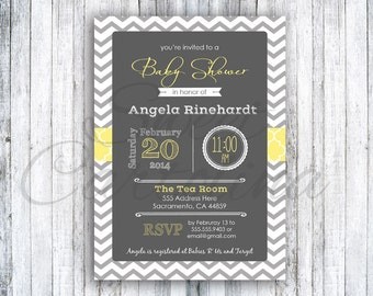 Chevron Baby Shower Invitations - 25 5x7 - Multiple Colors - Whimsical - Printed Shower Invite