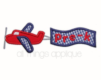 Airplane with Banner Applique Design - 3 Sizes - INSTANT DOWNLOAD