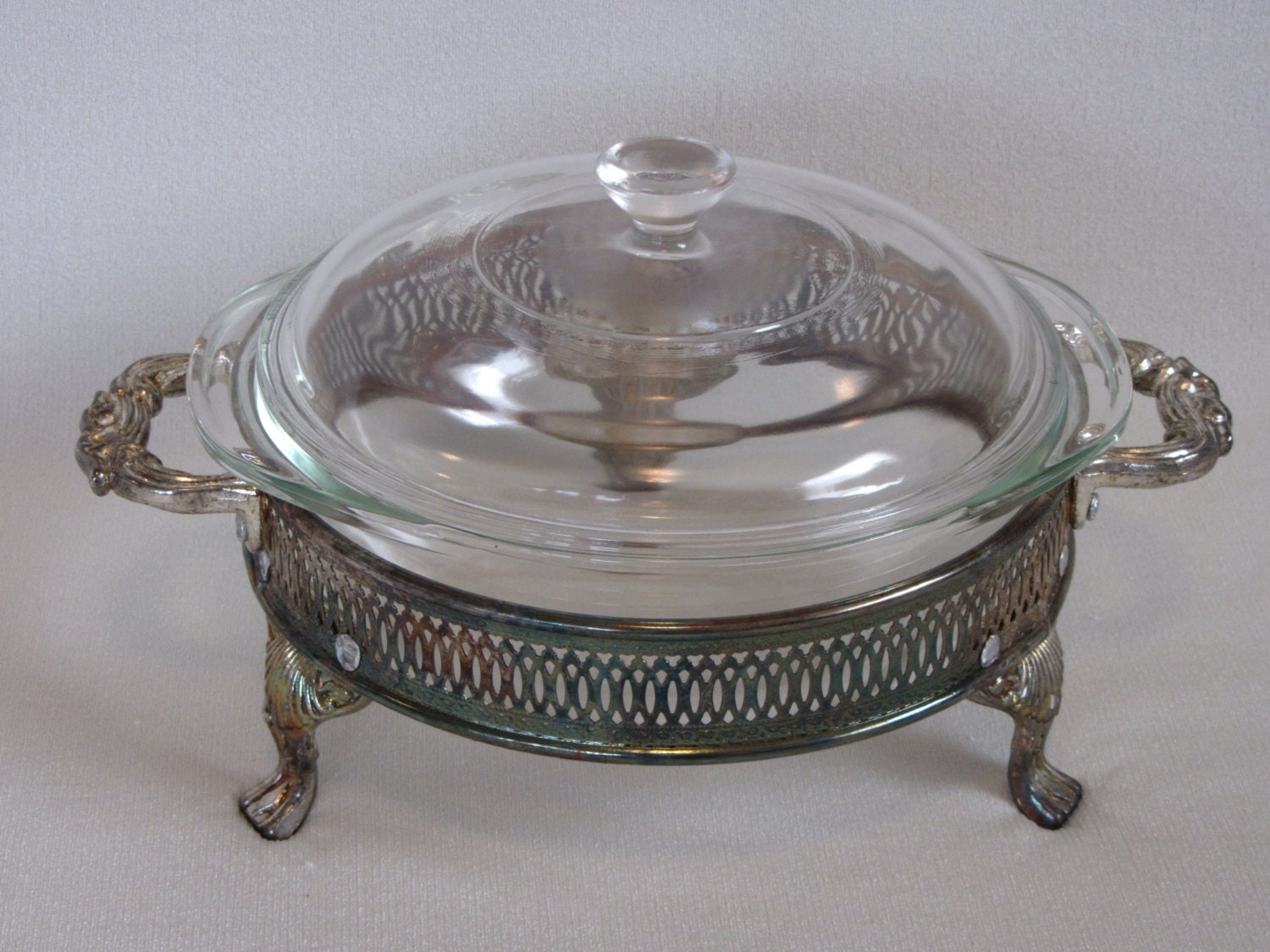 Silverplate Casserole Stand With Pyrex Glass Insert