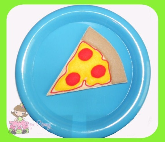 Pizza play food set (in the hoop) embroidery file design