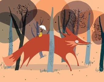 Giant Fox and Little Girl - Horizontal Print