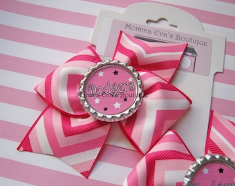 Momma Eva's -- Pink Dodgers Inspired PinWheel Hair Bow // Pink Fan Design // No Slip Grip Avail / Ready To Ship