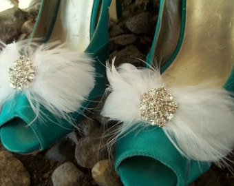 WEDDING SHOE CLIPS, Bridal Shoe CLips, Feather Shoe Clips, Clips for Wedding Shoes, Bridal Shoes, Bridal Accessories, ShoeClipsOnly on Etsy