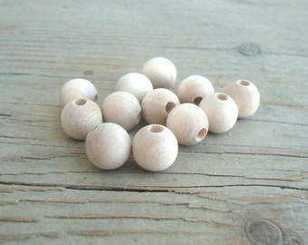 12 mm Wooden Beads / 25 pcs /  Unfinished Wood Small Round Beads