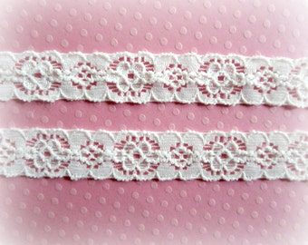 "Narrow White Stretch Lace. Lace Elastic.  1/2"" Width. 10 Yards. SHAYA Lace."