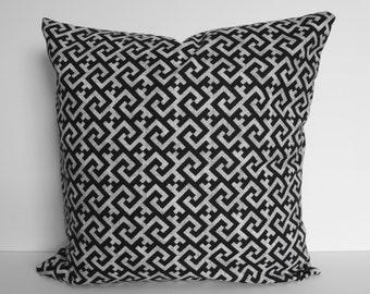 BLACK Greek Key Decorative Throw Pillow Covers, Cushion Cover