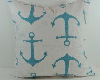 Aqua Blue Anchor Decorative Pillow Cover,  Nautical, Beach Cushion, 20 x 20