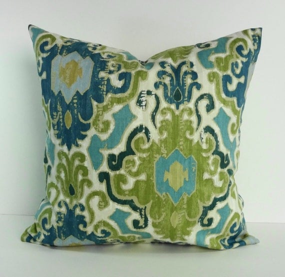 Blue And Green Decorative Pillow Cover Throw Pillow By