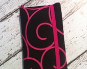 PInk and black swirl iPhone 3, 4, 4S, 5, iPod Touch 4G, 5 wallet with removable gel case