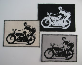 One harley pinup girl canvas patch in any color you choose....FREE SHIPPING USA