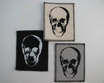 One small canvas skull patch in any color you choose....FREE SHIPPING USA