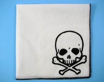 HANKIE SKULL and cross bones shown on super soft white cotton hanky-or choose from any solid color or plaids shown in pics