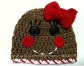 Gingerbread Girl Hat - Gingerbread Boy Hat - Holiday Hat - Christmas Hat - Gingerbread Hats - Twin Hats