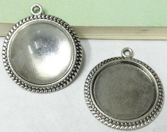 Cabochon Base Setting -5pcs Antique Silver Round Cameo Charm Pendants 25mm AA206-6