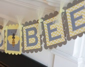 Mommy to Bee Yellow Grey Chevron Bee Theme Banner - Ask About Our Party Pack Specials- Free Shipping Over 65.00