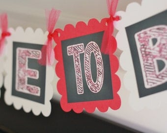 """Hot Pink White Chalkboard Bridal Shower """"Bride to Be"""" Banner - Ask About Party Pack Specials"""