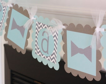 """Grey Chevron and Baby Blue - """"It's a Boy"""" or """"Little Man"""" Mustache, Tie or Bowtie Baby Shower Banner - Ask About Party Pack Specials"""