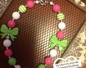Pink, Green, and White Chunky Beaded Necklace