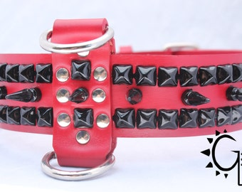 Black Long Spiked Red Leather Dog Collar with Studs