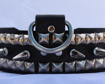 Long Spiked Black Leather Dog Collar with Studs