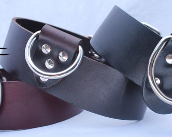 Plain Burgundy Leather Dog Collar