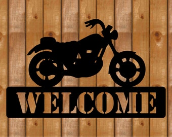 Harley Like Motorcycle Sign / Plaque.  Customized with Name or Welcome.