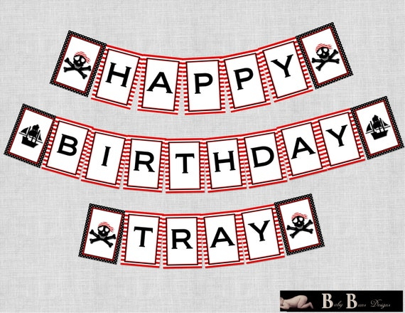 Pirate Birthday Party Banner (red, black and white)- Printable or Shipped