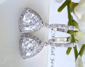 Original Design- Wedding Bridal Earrings - Unique AAA Halo Clear White Triollion Cut Triangle Cubic Zirconia with Leverback CZ Earings