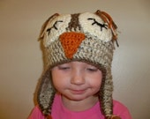 Crocheted Sleeping Speckled Owl Flapper Beanie