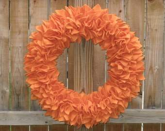 Fall Wreath - Autumn Wreath - Pumpkin Wreath - Orange Wreath - Fleece Wreath - Door Wreath - Rag Wreath - Large Wreath - Halloween Wreath