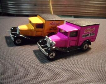 2 Vintage Matchbox Cereal Premium Trucks for Kellogs cereal
