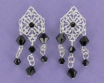 CHANDELIER EARRINGS - Silver Plate and Black Swarovski Crystals on Posts
