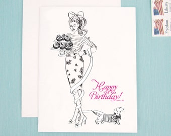 Birthday Card, Note Card, Birthday girl, fashion illustration with cupcakes and a Dachshund