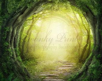 7ft x 7ft Secret Garden----- Vinyl Photography Backdrop / Forest