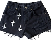 Cross Religious Shorts Hand Painted Vintage Distressed High Waisted Denim Trend Boho Coachella Hipster Gothic Small Medium W26