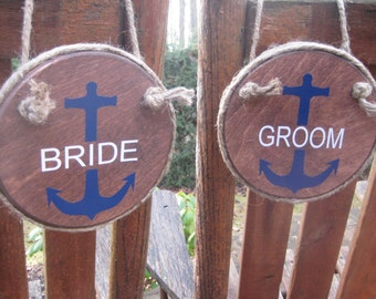 Wedding Chair Signs, Bride and Groom Signs, Anchor Wedding Signs, Nautical Wedding, Beach Wedding, Wood Chair Signs, Your Divine Affair