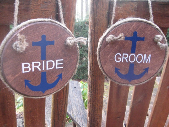 Wedding Chair Signs Bride And Groom Signs Anchor Wedding